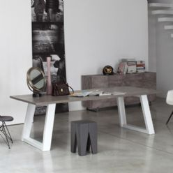 Grey Twins Oak and Steel Dining Table